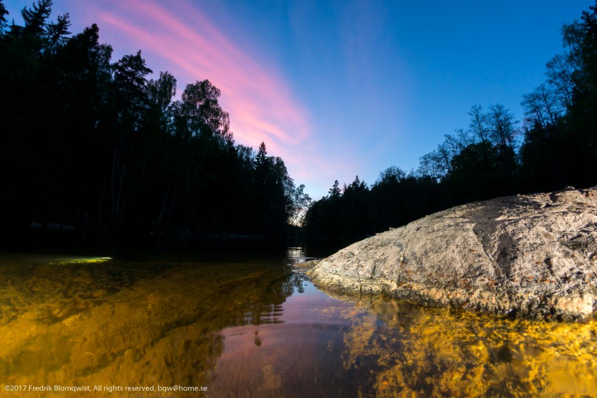 Säveåns inlopp i Norsesund, mellan Mjörn o lilla Lången